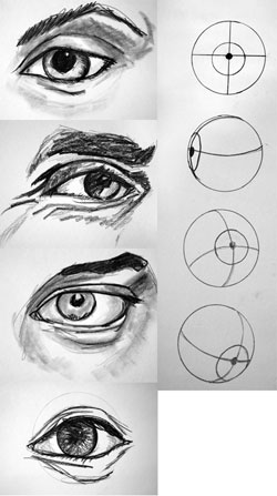 Eye-Compsimple drawing faces eyes
